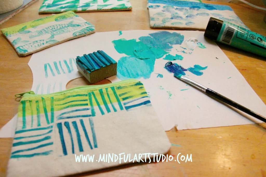 Painted Stamps on Pouch