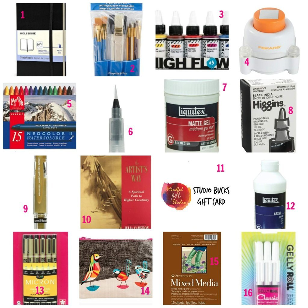 gift guide for artists, holiday gift guide 2016, art journaling gift guide, gifts for creative people, gifts for artists