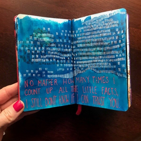 how to write in an art journal, Incorporating text into your art