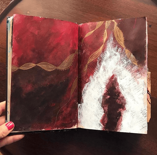 Blending Art & Writing in Your Intuitive Art Journal, combining text and images in art journals