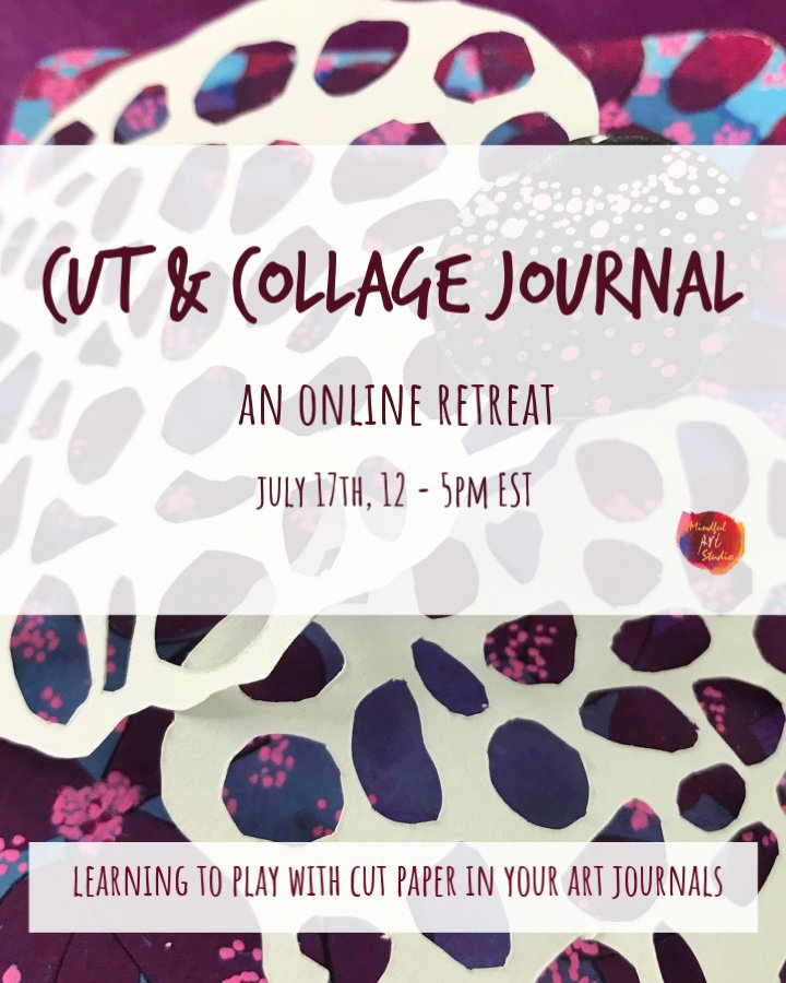 Collage art journal, online art classes, mixed media art journal class, online art journal class
