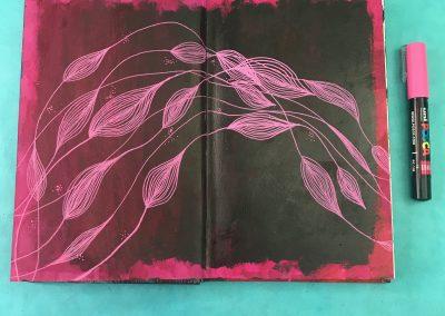 black page leaves
