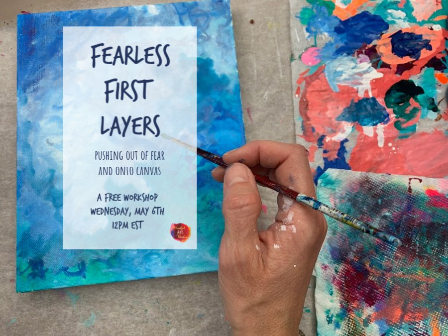best online art classes, fearless first layers, abstract painting class