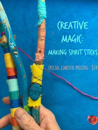 making spirit sticks, online art workshop