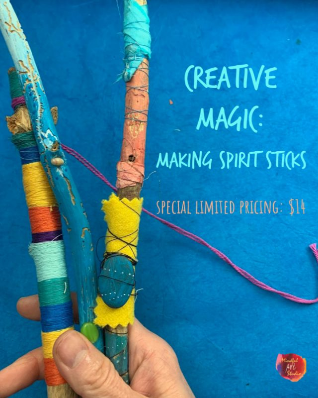 making spirit sticks, online art workshop