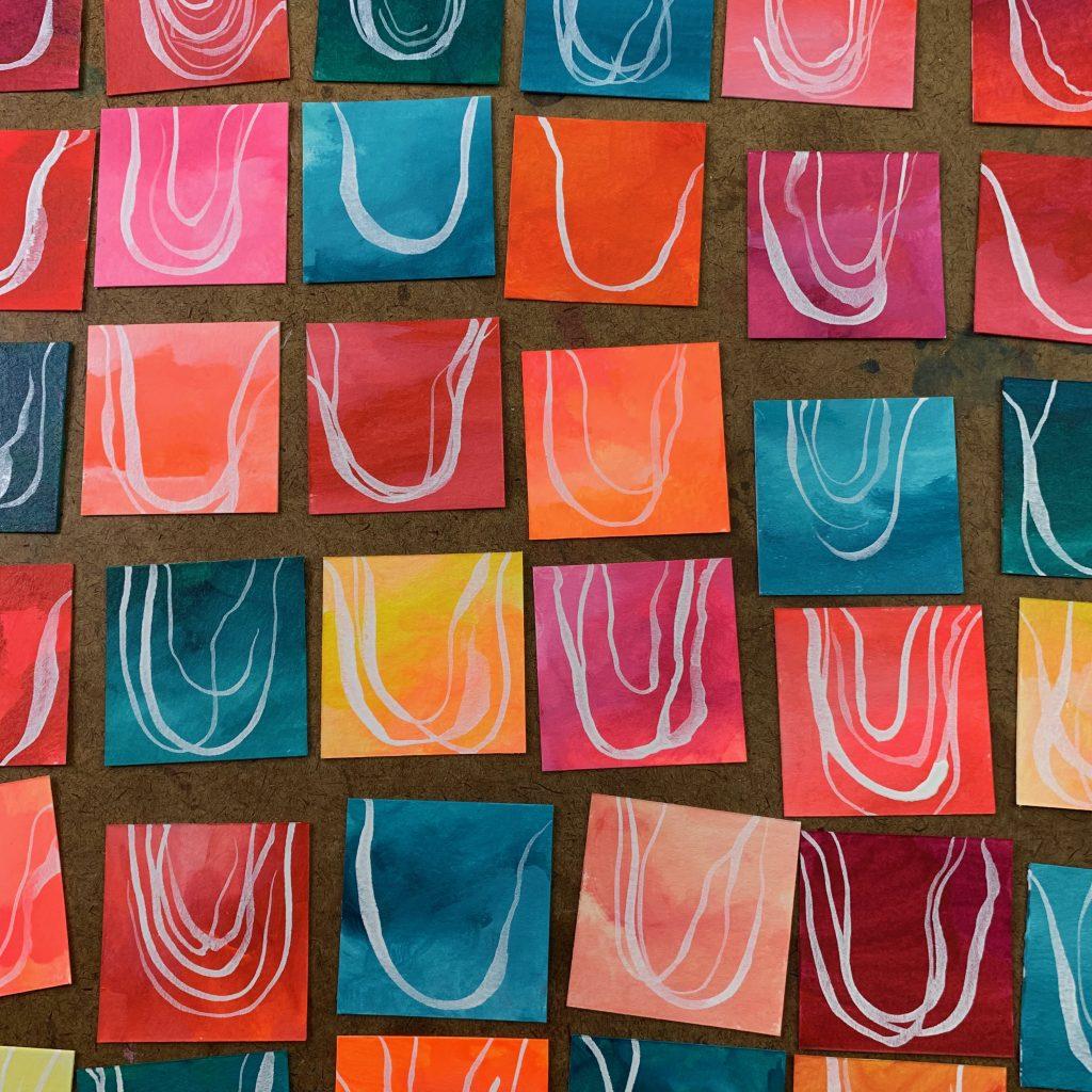 small art, inchie art, tiny art, mixed media online art class
